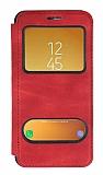 Samsung Galaxy J5 Pro 2017 Çift Pencereli Kapaklı Kırmızı Kılıf