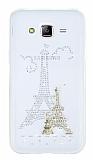 Samsung Galaxy J5 Taşlı Paris Şeffaf Silikon Kılıf