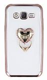 Samsung Galaxy J5 Taşlı Kalp Selfie Yüzüklü Rose Gold Silikon Kılıf