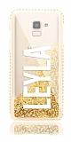 Samsung Galaxy J6 Kişiye Özel Simli Sulu Gold Rubber Kılıf