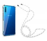 Samsung Galaxy A7 2018 Askılı Şeffaf Beyaz Çizgili Silikon Kılıf