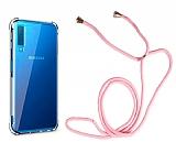 Samsung Galaxy A7 2018 Askılı Şeffaf Pembe Silikon Kılıf