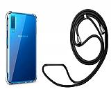 Samsung Galaxy A7 2018 Askılı Şeffaf Siyah Çizgili Silikon Kılıf