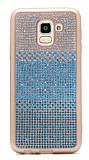 Samsung Galaxy J6 Taşlı Geçişli Mavi Silikon Kılıf