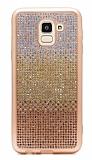 Samsung Galaxy J6 Taşlı Geçişli Gold Silikon Kılıf