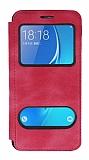Samsung Galaxy J7 2016 Çift Pencereli Kapaklı Pembe Kılıf