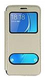 Samsung Galaxy J7 2016 Çift Pencereli Kapaklı Gold Kılıf