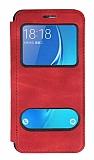 Samsung Galaxy J7 2016 Çift Pencereli Kapaklı Kırmızı Kılıf