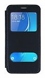 Samsung Galaxy J7 2016 Çift Pencereli Kapaklı Siyah Kılıf
