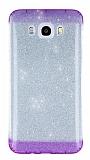 Samsung Galaxy J7 2016 Mor Kenarlı Simli Silikon Kılıf