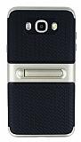Samsung Galaxy J7 2016 Standlı Çizgili Gold Silikon Kılıf