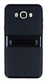 Samsung Galaxy J7 2016 Standlı Çizgili Siyah Silikon Kılıf