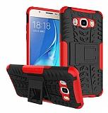 Samsung Galaxy J7 2016 Süper Koruma Standlı Kırmızı Kılıf