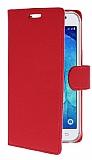 Samsung Galaxy J7 Cüzdanlı Yan Kapaklı Kırmızı Deri Kılıf