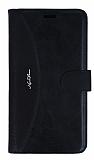 Samsung Galaxy J7 C�zdanl� Yan Kapakl� Siyah Deri K�l�f