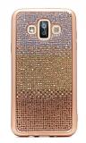 Samsung Galaxy J7 Duo Taşlı Geçişli Gold Silikon Kılıf