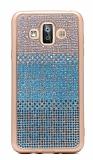 Samsung Galaxy J7 Duo Taşlı Geçişli Mavi Silikon Kılıf