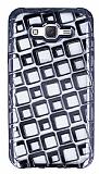 Samsung Galaxy J7 Kare Desenli Siyah Silikon Kılıf