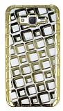 Samsung Galaxy J7 Kare Desenli Gold Silikon Kılıf