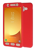 Samsung Galaxy J7 Max 360 Derece Koruma Likit Kırmızı Silikon Kılıf