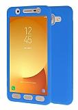 Samsung Galaxy J7 Max 360 Derece Koruma Likit Mavi Silikon Kılıf