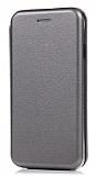 Samsung Galaxy J7 Max Curve Manyetik Kapaklı Silver Deri Kılıf