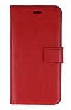 Samsung Galaxy J8 Cüzdanlı Kapaklı Kırmızı Deri Kılıf