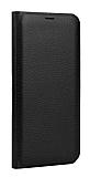 Samsung Galaxy J7 Max Cüzdanlı Yan Kapaklı Siyah Deri Kılıf