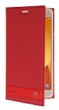 Samsung Galaxy J7 Max Gizli Mıknatıslı Yan Kapaklı Kırmızı Deri Kılıf