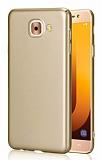 Samsung Galaxy J7 Max Tam Kenar Koruma Gold Rubber Kılıf
