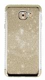 Samsung Galaxy J7 Max Taşlı Kenarlı Simli Gold Silikon Kılıf