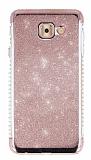 Samsung Galaxy J7 Max Taşlı Kenarlı Simli Rose Gold Silikon Kılıf