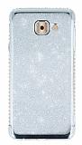 Samsung Galaxy J7 Max Taşlı Kenarlı Simli Silver Silikon Kılıf