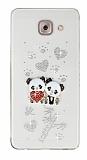 Samsung Galaxy J7 Max Taşlı Panda Şeffaf Silikon Kılıf