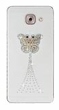 Samsung Galaxy J7 Max Taşlı Kelebek Şeffaf Silikon Kılıf
