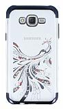 Samsung Galaxy J7 / Galaxy J7 Core Siyah Peacock Taşlı Şeffaf Silikon Kılıf