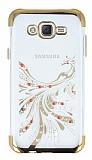 Samsung Galaxy J7 / Galaxy J7 Core Gold Peacock Taşlı Şeffaf Silikon Kılıf