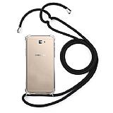 Samsung Galaxy J7 Prime / J7 Prime 2 Siyah Askılı Şeffaf Silikon Kılıf