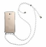 Samsung Galaxy J7 Prime / J7 Prime 2 Beyaz Çizgili Askılı Şeffaf Silikon Kılıf