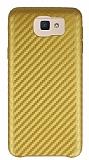 Samsung Galaxy J7 Prime Karbon Görünümlü Gold Rubber Kılıf