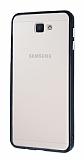 Samsung Galaxy J7 Prime Metal Tuşlu Siyah Silikon Kenarlı Şeffaf Kılıf
