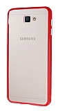 Samsung Galaxy J7 Prime Metal Tuşlu Kırmızı Silikon Kenarlı Şeffaf Kılıf