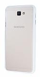 Samsung Galaxy J7 Prime Metal Tuşlu Beyaz Silikon Kenarlı Şeffaf Kılıf