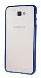 Samsung Galaxy J7 Prime Metal Tuşlu Lacivert Silikon Kenarlı Şeffaf Kılıf