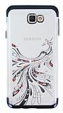 Samsung Galaxy J7 Prime Siyah Peacock Taşlı Şeffaf Silikon Kılıf