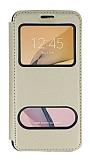 Samsung Galaxy J7 Prime / Prime 2 Çift Pencereli Kapaklı Gold Kılıf