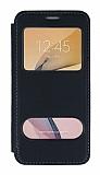 Samsung Galaxy J7 Prime / Prime 2 Çift Pencereli Kapaklı Siyah Kılıf