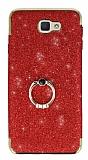 Samsung Galaxy J7 Prime Selfie Yüzüklü Simli Kırmızı Silikon Kılıf