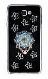 Samsung Galaxy J7 Prime Selfie Yüzüklü Taşlı Çiçekli Silikon Kılıf