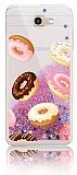 Samsung Galaxy J7 Prime / J7 Prime 2 Simli Sulu Donut Resimli Pembe Silikon Kılıf